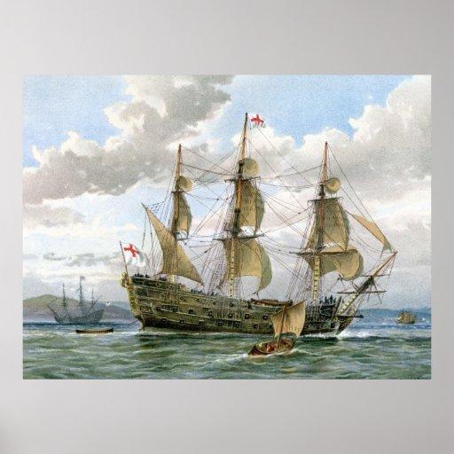 English Battleship about 1650 Poster