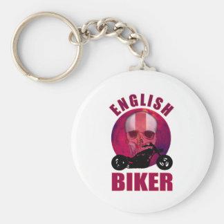 English Biker Skull Chop Basic Round Button Key Ring