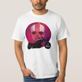 English Biker Skull Imprint T-Shirt