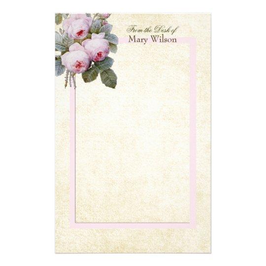 English Bourbon Roses Bouquet Custom Personalised Stationery