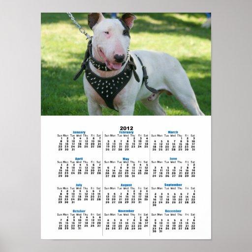 English bull terrier 2012 calendar poster print