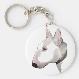 English Bull Terrier Basic Round Button Key Ring