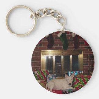english bull terrier christmas present fireplace basic round button key ring