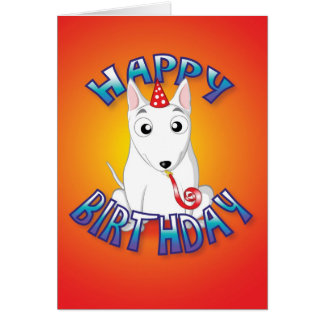 english bull terrier - hat&whistle - happy birthda card