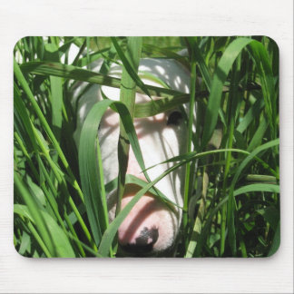 English Bull Terrier Hiding in the Grass Mouse Mat