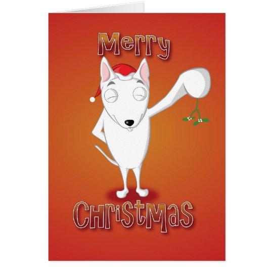 english bull terrier - mistletoe - merry christmas card
