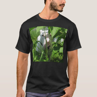 English Bull Terrier Peeking Through the Leaves T-Shirt