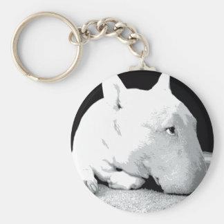 English Bull Terrier, Pop Art Print Basic Round Button Key Ring