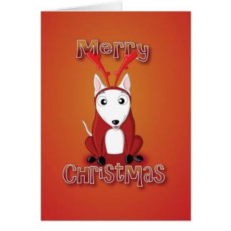 english bull terrier-reindeer costume-merry xmas card