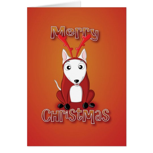 english bull terrier-reindeer costume-merry xmas card