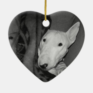 English Bull Terrier Snuggled Under a Blanket -BW Christmas Ornament