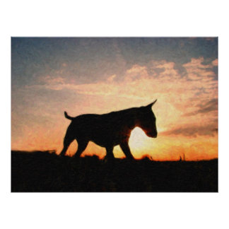 English Bull Terrier & Sunset, Oil Paint Style Poster