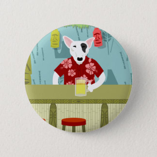 English Bull Terrier Tiki Bar 6 Cm Round Badge