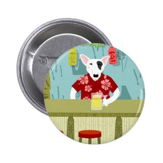English Bull Terrier Tiki Bar 6 Cm Round Badge