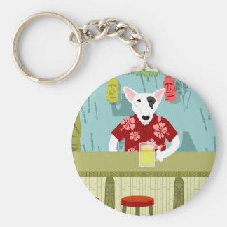English Bull Terrier Tiki Bar Basic Round Button Key Ring