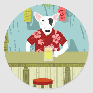 English Bull Terrier Tiki Bar Classic Round Sticker
