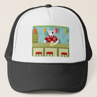 English Bull Terrier Tiki Bar Trucker Hat