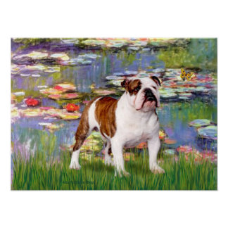 English Bulldog 5 - Lilies Poster