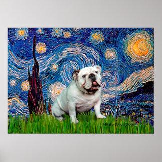 English Bulldog 8 - Starry Night Poster