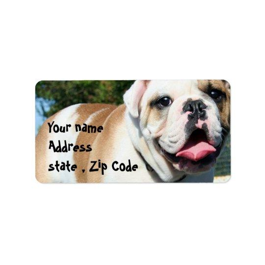 English bulldog address label
