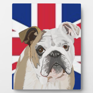 English Bulldog against a Union Jack Plaque