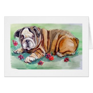 English Bulldog amidst Flowers