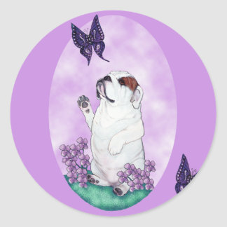 English Bulldog and Butterflies Round Sticker