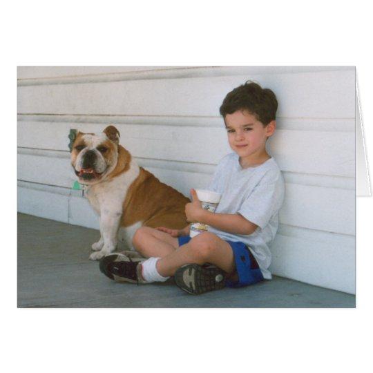 English Bulldog and Little Boy Card