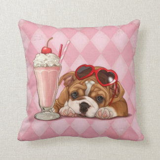 English bulldog and milkshake cushion