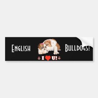 English Bulldog and Shih Tzu I LOVE YOU Bumper Sticker