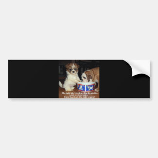 English Bulldog and Shih Tzu Puppy Bumper Sticker