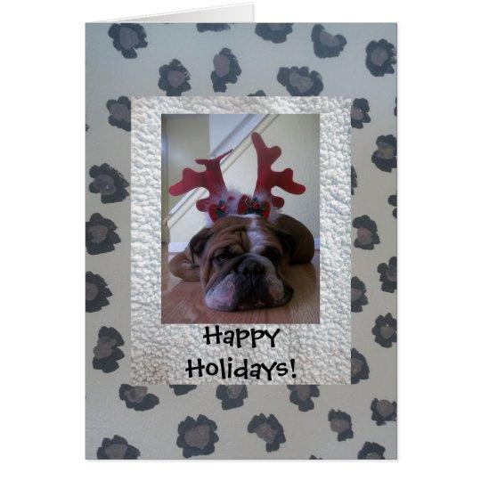English bulldog as reindeer Happy Holiday card
