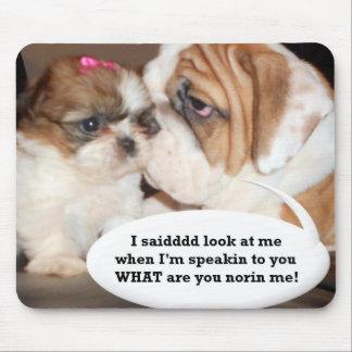 English Bulldog Attention! Mouse Pad