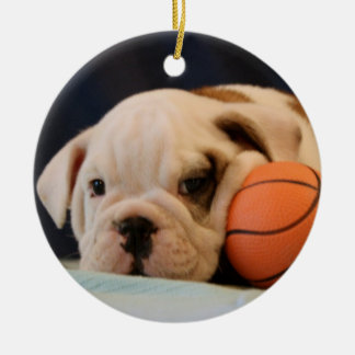 English Bulldog Basketball Puppy Christmas Ornament