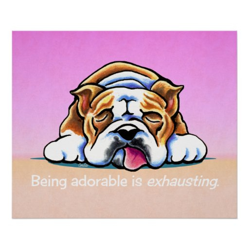 English Bulldog Being Adorable Off-Leash Art™ Posters