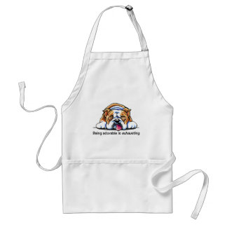 English Bulldog Being Adorable Off-Leash Art™ Standard Apron