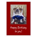 English Bulldog Birthday Card, Royalty Greeting Card