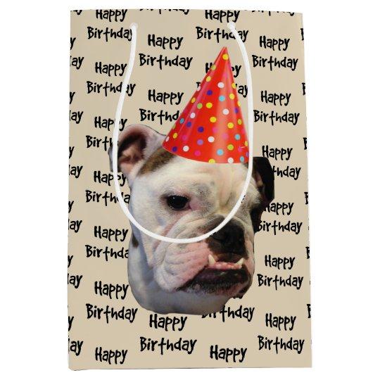 English Bulldog Birthday Party Hat Medium Gift Bag