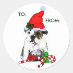 English Bulldog Christmas Gifts Classic Round Sticker