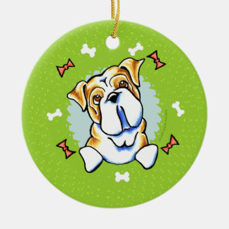English Bulldog Christmas Wreath Christmas Ornament
