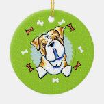 English Bulldog Christmas Wreath Round Ceramic Decoration