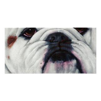 English Bulldog Close and Personal Personalised Photo Card