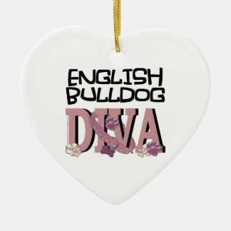 English Bulldog DIVA Christmas Ornament
