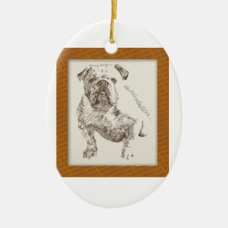 English Bulldog dog art drawn from words Christmas Ornament