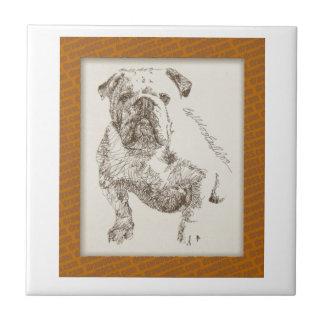 English Bulldog dog art drawn from words Small Square Tile