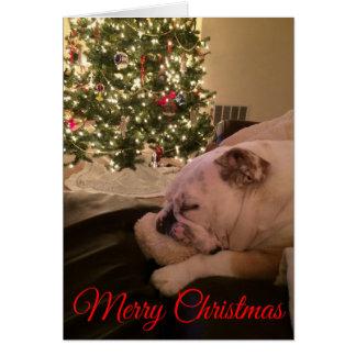 English Bulldog Dreaming Christmas Card