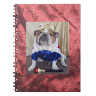 English Bulldog dressed as a king, Notebook! Spiral Notebook