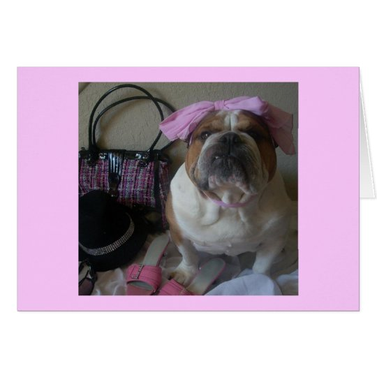English Bulldog in Pink Birthday card