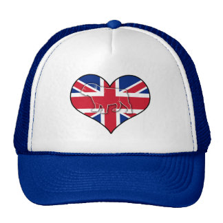English Bulldog on Union Jack in Heart Cap