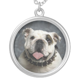 English Bulldog Portrait Silver Pendant Necklace